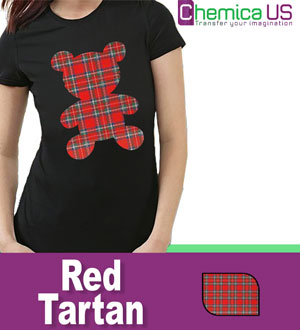 "Chemica Red Tartan Pattern HTV 15"" by the Yard"